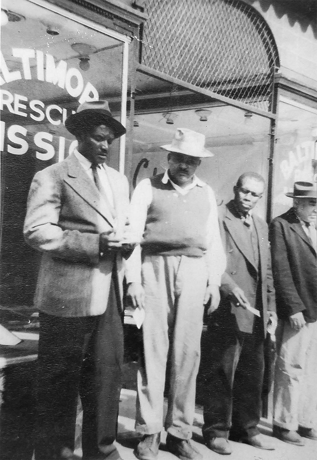 A group of men outside the Baltimore Rescue Mission, circa 1956
